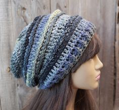 Crochet Hat  Slouchy  Hat Multicolored  Winter by EvasStudio