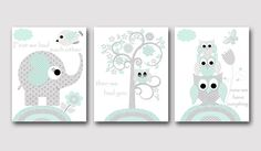 Aqua Grey Elephant Owl Nursery Quotes Canvas Print Childrens