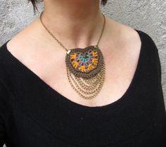 Collar de ganchillo ganchillo collar tribal por GiadaCortellini