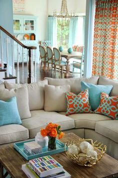 Orange and turquoise – 25 Chic Beach House Interior Design Ideas Spotted on Pint… - Best Home Deco Coastal Living Rooms, My Living Room, Home And Living, Coastal Cottage, Coastal Style, Coastal Decor, Small Living, Living Area, Coastal Homes