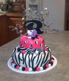Hello Kitty fondant cake...pink and zebra