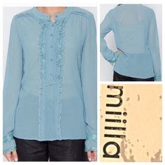 🆕 Miilla Ruffled Blouse, fits 10-12 Beautiful polyester chiffon blouse with eyelash lace- just gorgeous. Blouse is new with tags and the details are divine! By Miilla in a gorgeous dusty sea blue color. So very flattering and timeless! Would look smashing with bits of ruffled lace peeking out from under a sharp jacket. Pair it with slacks or a pencil skirt! Middle 2 photos show truest color- a dusty teal blue. Imported. Miilla Tops Blouses