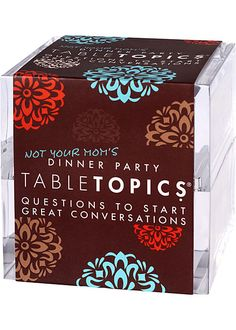 Table Topics ... available at Twisted Goods in a variety of themes.  What a great idea for when you're with people you don't know that well. Beats small talk!  (Ain't nobody got time for that).