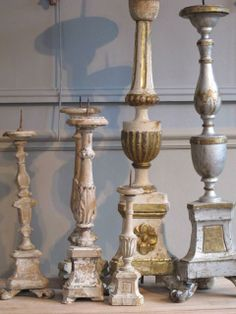 Collection of six, late 18th and 19th century pricket candlesticks, retaining some of the original decoration.