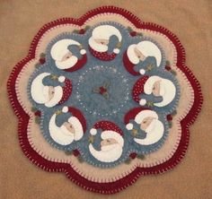Christmas Santa penny rug candle mat pdf by pennylaneprims on Etsy, $4.50