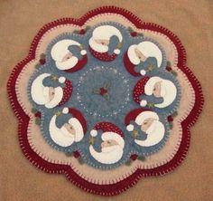 Christmas Santa penny rug candle mat pdf by pennylaneprims on Etsy, $4.50