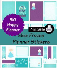 New BIG Happy Planner Elsa Frozen PDF PRINTABLE Planner Stickers Erin Condren…