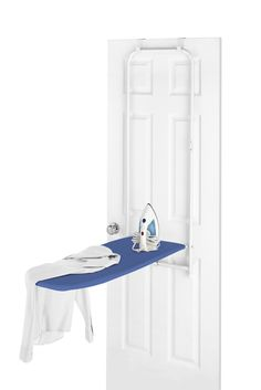 Features:  -Hangs over inside door.  -Sturdy metal frame.  -Hanging brackets included.  -1 Year warranty.  Product Type: -Over the door.  Color: -White; Blue.  Iron Rest Included: -Yes. Dimensions:  O