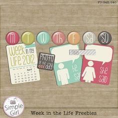 Week in the Life element pack freebie from Simple Girl #scrapbook #digiscrap #scrapbooking #digifree #scrap