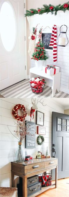 Christmas entryway:100+ Favorite Christmas decorating ideas & DIY Christmas decorations for every room, from the best Christmas home tours! Lots of great tips to apply to your own home easily! A Piece of Rainbow #ChristmasHomeDecorating,