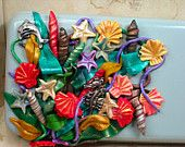 Ocean Waves- Polymer Clay Tin Shells Starfish Dolphin