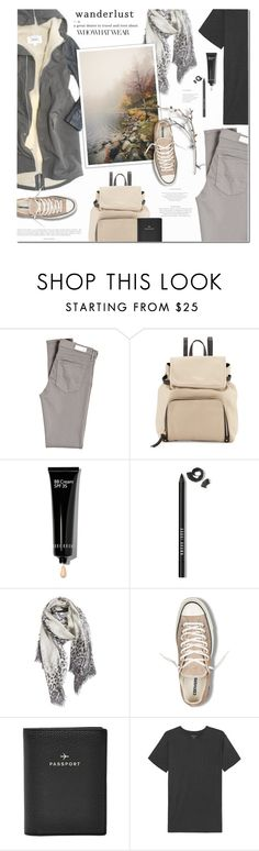 """Wanderlust"" by anna-anica ❤ liked on Polyvore featuring Mason's, AG Adriano Goldschmied, Kate Spade, Bobbi Brown Cosmetics, Nordstrom, Converse, FOSSIL and Majestic Filatures"