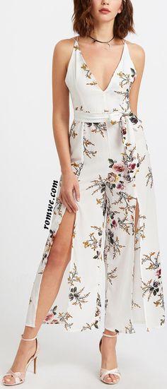 Floral Print Deep V Neck Self Tie Split Jumpsuit Floral Dress Design, White Floral Dress, Floral Maxi Dress, Cheap Maxi Dresses, Day Dresses, Evening Dresses, High Slit Dress, Sammy Dress, Backless