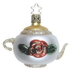 The Teapot brings Hospitality. Inge-Glas German Christmas Ornament. Bride's Tree. Available at www.mygrowingtraditions.com