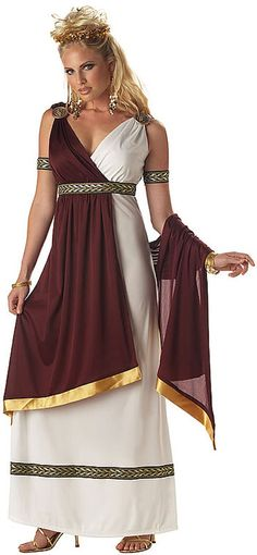 Roman Empress halloween costume- made with bed sheet instead! toga toga