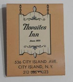 Thwaites Inn Matchbook City Island Ave Bronx NY Front Strike Unused  #Frontstrikematchbook