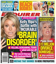 Enquirer: Kelly Ripa's 'incurable brain disorder': she hates to hear people eating