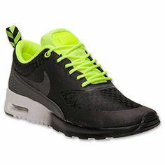Women's Nike Air Max Thea Woven Running Shoes| FinishLine.com | Black/Volt/White