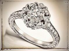 Vintage Diamond Ribbon Engagement Ring