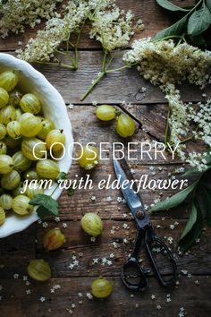 GOOSEBERRY jam with elderflower: by marleenvanes on Fruit And Veg, Fruits And Veggies, Fresh Fruit, Food Photography Styling, Food Styling, Gooseberry Jam, Elderflower, Food Pictures, Food Inspiration
