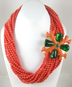 Stunning Kenneth Jay Lane Coral Torsade Necklace