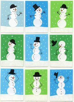Snowman Handmade Greeting Cards. Use round stickers to make everything smooth and easy to draw. #snowmancrafts