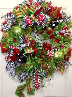 Christmas Mesh Wreath on Etsy, $115.00