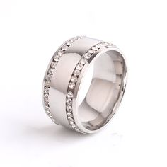 10mm double rhinestone Smooth 316L Stainless Steel finger rings for men wholesale jewelry