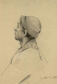 """Bust portrait of a man with a hat (Study for """"Shakespeare's Theater"""" at the Burgtheater). Brustbild eines Mannes mit Mütze (Studie für 'Theater Shakespeares' im Burgtheater) Gustav Klimt 1887"""