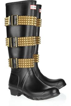 Hunter studded-strapped Wellington boots.  Put a little kick into your rainy day