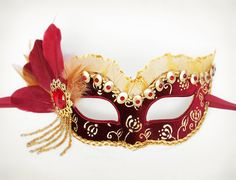 Red, Gold & Burgundy Velvet Masquerade Mask With Gold Accents   -  Velvet Covered And Beaded  Venetian Style Mardi Gras Mask With Feathers