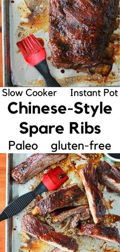 These easy Chinese-Style Ribs are so much better than takeout! Juicy spare ribs are coated in a sticky glaze for a healthy dinner that can be made in the slow cooker or Instant Pot. Plus they're Paleo, gluten-free, dairy-free and refined sugar-free. Your crockpot or electric pressure cooker have never been so happy. Spare Ribs Slow Cooker, Chinese Spare Ribs, Gluten Free Chinese, Chinese Spices, Paleo Crockpot Recipes, Chinese Style, Paleo Diet, Sugar Free, Instant Pot
