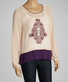Purple & Peach Abstract Top by Dani Collection