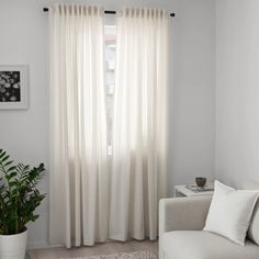 HANNALILL Curtains, 1 pair, beige, A perfect solution when you want privacy or want to block annoying glares on TV and computer screens. Ikea Curtains, Beige Curtains, Curtains Living, Panel Curtains, Ikea Curtain Rods, Curtain Rings With Clips, Curtains With Rings, Curtains Without Sewing, Lohals