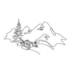 Mountain Landscape Drawing, Landscape Artwork, Landscape Drawings, Art Drawings, One Line Tattoo, Line Tattoos, Wald Tattoo, Continuous Line Tattoo, Black And White Art Drawing