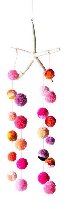 Dana Haim - Pom Pom Starfish Mobile in Pink/Oranges