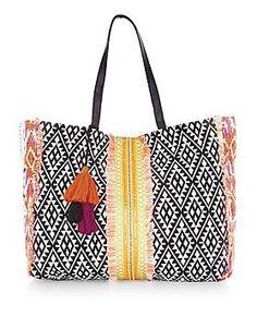 Multicoloured Aztec Woven Tassel Trim Tote Bag  | New Look