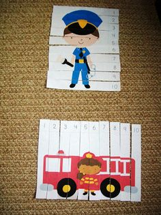 Emergency vehicles with a focus on police and fire fighters. Would be good learning numbers or letters, make it so that if the letters/numbers are in order the picture will be right. Need to do something like it for Christian.