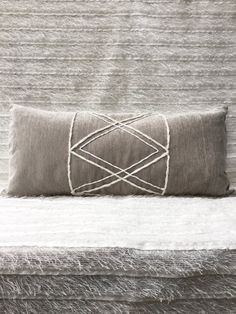 Velvet Geometric Lumbar Pillowcase | Pillow cover | Nautical Rope | Boho Pillow | Stone Grey | Tribal | Simple