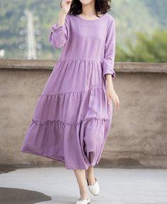 Purple linen maxi dress, cupcake Dresses, skater dress, womens Prom Dress Fabulous Dresses, Nice Dresses, Prom Dresses, Long Dress Fashion, Women's Fashion, Summer Dresses For Women, Summer Outfits, Skater Dress, Cupcake