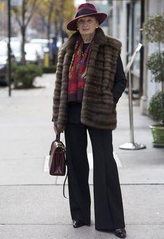 ADVANCED STYLE by carol.swallowcliffs. Trouser suits look wonderful on older women