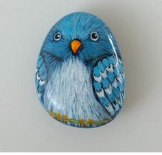 Blue Parrot hand painted stone by Uniquestoneart on Etsy Pebble Painting, Pebble Art, Stone Painting, Stone Crafts, Rock Crafts, Hand Painted Rocks, Painted Pebbles, Painted Stones, Rock And Pebbles