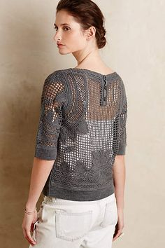 New Clothing Arrivals - Shop Women's Clothes Crochet Leaf Patterns, Crochet Designs, Crochet Stitches, Crochet Jacket, Crochet Cardigan, Knit Crochet, Anthropologie Clothing, Fillet Crochet, Lace Tops