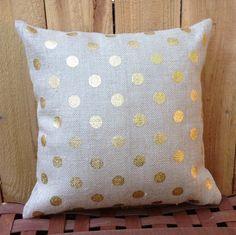 Gold Polka Dot Burlap Jute Throw Pillow Cushion Cover, 18x18 Inch