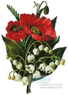 Poppies and Lily of the Valley cross stitch pattern.