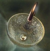 "12"" vessel sink, Oceana, rippled glass"