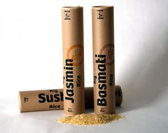 Conceptual rice packaging developed by Homer Mendoza in Sylvain Allard's packaging course at École de design. Fair trade Rice is offered in recycled cardboard tubes