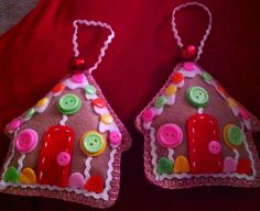 Felt Gingerbread houses. 2012 Xmas ornament.