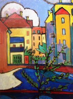 """Gabrielle Münter, Houses. Gabriele Münter was a German expressionist painter who was at the forefront of the Munich avant-garde in the early 20th century and one of the founders of """"The BLue Rider""""."""