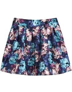 Blue and Apricot Florals Print Pleated Skirt US$22.13
